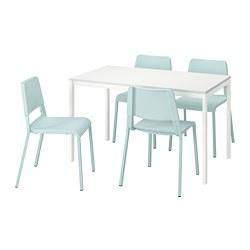 TEODORES/MELLTORP - Meja dan 4 kursi, putih/toska muda