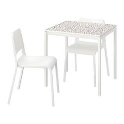 MELLTORP/TEODORES - Meja dan 2 kursi, pola mosaik putih/putih