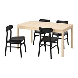 RÖNNINGE/RÖNNINGE - Meja dan 4 kursi, kayu birch/hitam