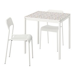 MELLTORP/ADDE - Table and 2 chairs, mosaic patterned white/white