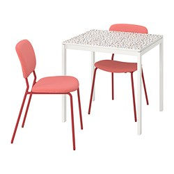 MELLTORP/KARLJAN - Table and 2 chairs, mosaic patterned white/Kabusa red