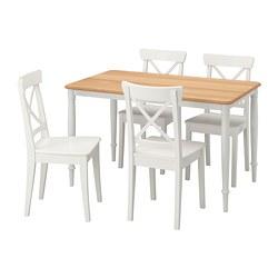 DANDERYD/INGOLF - Meja dan 4 kursi, putih/putih