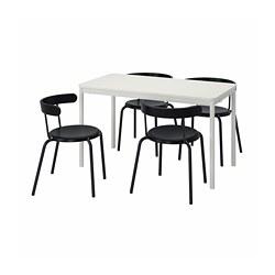 TOMMARYD/YNGVAR - Meja dan 4 kursi, putih/antrasit