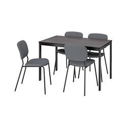 KARLJAN/VANGSTA - Meja dan 4 kursi, hitam cokelat tua/Kabusa abu-abu tua