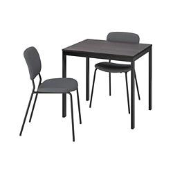 KARLJAN/VANGSTA - Meja dan 2 kursi, hitam cokelat tua/Kabusa abu-abu tua