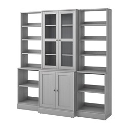 HAVSTA - Storage combination w glass doors, grey