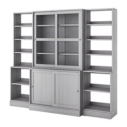 HAVSTA - Storage comb w sliding glass doors, grey