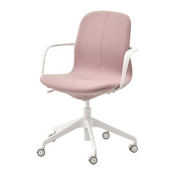 LÅNGFJÄLL - Office chair with armrests, Gunnared light brown-pink/white