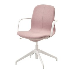 LÅNGFJÄLL - Conference chair with armrests, Gunnared light brown-pink/white