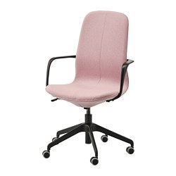 LÅNGFJÄLL - Office chair with armrests, Gunnared light brown-pink/black
