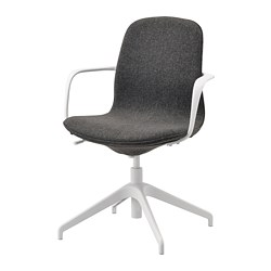 LÅNGFJÄLL - Conference chair with armrests, Gunnared dark grey/white