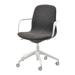 LÅNGFJÄLL - Office chair with armrests, Gunnared dark grey/white