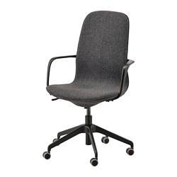 LÅNGFJÄLL - Office chair with armrests, Gunnared dark grey/black