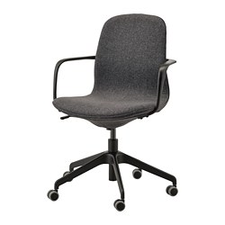 LÅNGFJÄLL - Office chair with armrests, Gunnared dark grey/black