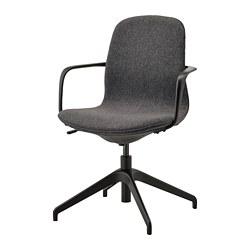 LÅNGFJÄLL - Conference chair with armrests, Gunnared dark grey/black