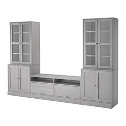 HAVSTA - Kombinasi penyimpanan TV/pintu kaca, abu-abu
