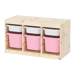 TROFAST - Storage combination with boxes, light white stained pine white/pink