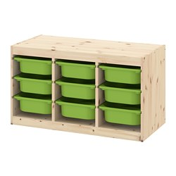 TROFAST - Storage combination with boxes, light white stained pine/green