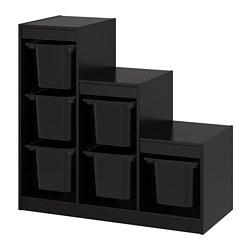 TROFAST - Kombinasi penyimpanan dgn kotak, hitam