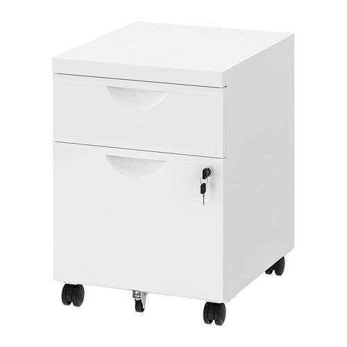 ERIK drawer unit w 2 drawers on castors