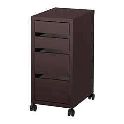 MICKE - Drawer unit on castors, black-brown