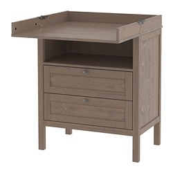 SUNDVIK - Changing table/chest of drawers, grey-brown