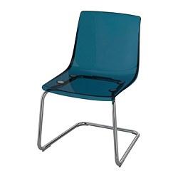 TOBIAS - Kursi, biru/dilapisi krom
