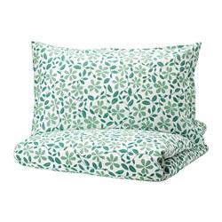 JUVELBLOMMA - Sarung quilt dan sarung bantal, putih/hijau
