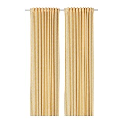 DORTHEA - Curtains, 1 pair, white/yellow