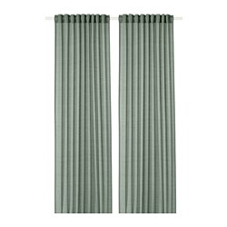 HILJA - Curtains, 1 pair, grey-green