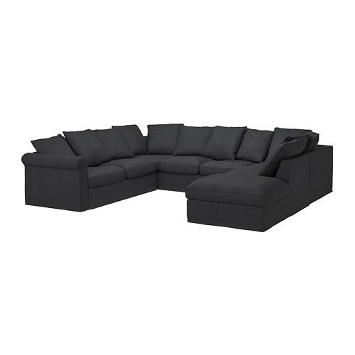 GRÖNLID - sofa bentuk u, 6 dudukan, dengan ujung terbuka/Sporda abu-abu tua   IKEA Indonesia - PE735691_S4