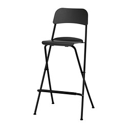 FRANKLIN - Bar stool with backrest, foldable, black/black