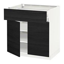 METOD/MAXIMERA - Kabinet dasar dengan laci/2 pintu, putih/Tingsryd hitam