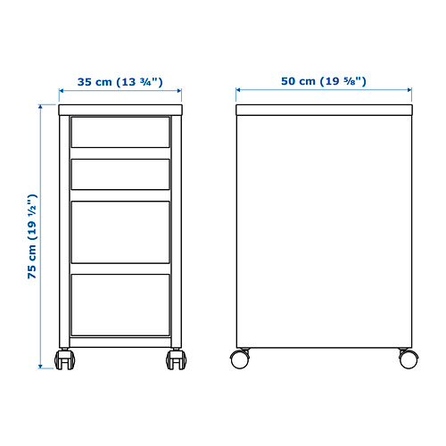 MICKE drawer unit on castors