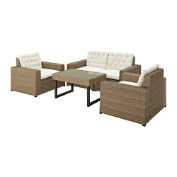 SOLLERÖN - 4-seat conversation set, outdoor, brown/Kuddarna beige