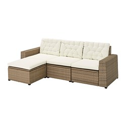 SOLLERÖN - 3-seat modular sofa, outdoor, with footstool brown/Kuddarna beige