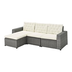 SOLLERÖN - 3-seat modular sofa, outdoor, with footstool dark grey/Kuddarna beige