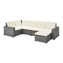 SOLLERÖN - Modular corner sofa 4-seat, outdoor, with footstool dark grey/Kuddarna beige