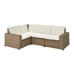 SOLLERÖN - Sofa sdt 3 ddkn mdlr, luar ruangan, cokelat/Kuddarna krem