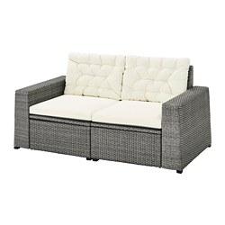 SOLLERÖN - Sofa mdlr dua dudukan, luar ruangan, abu-abu tua/Kuddarna krem