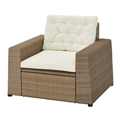 SOLLERÖN - Armchair, outdoor, brown/Kuddarna beige