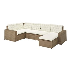 SOLLERÖN - Modular corner sofa 4-seat, outdoor, with footstool brown/Kuddarna beige