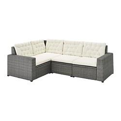 SOLLERÖN - Sofa sdt 3 ddkn mdlr, luar ruangan, abu-abu tua/Kuddarna krem
