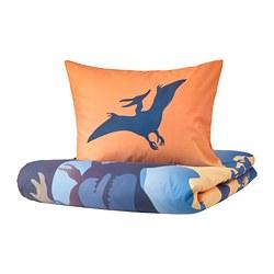JÄTTELIK - Sarung quilt dan sarung bantal, dinosaurs at sunrise oranye/biru