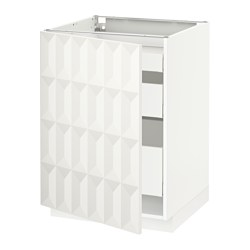 METOD - Base cabinet with 1 door/3 drawers, white Maximera/Herrestad white
