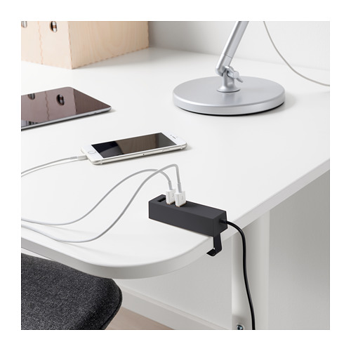 LÖRBY charger USB dengan penjepit