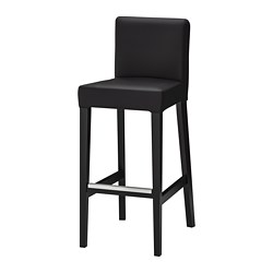 HENRIKSDAL - Bar stool with backrest, brown-black/Glose black