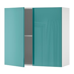 KNOXHULT - Wall cabinet with doors, high-gloss/blue-turquoise