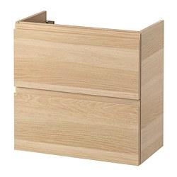 GODMORGON - Meja wastafel 2 laci, efek kayu oak diwarnai putih