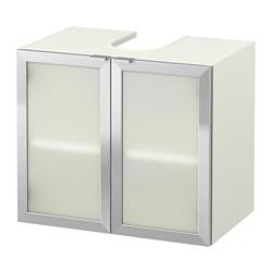 LILLÅNGEN - Kabinet dasar wasatafel dg 2 pintu, putih/aluminium